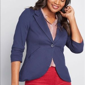 Modcloth Blazer Fine&Sandy Navy 3/4 Ruched Sleeve